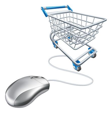 Computermuis winkelwagentje illustratie, een concept voor internet online winkelen