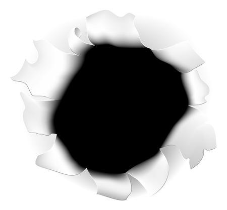 Un esempio di un buco strappato in fondo bianco della carta