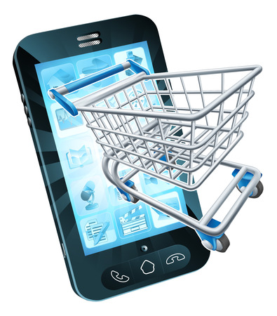 Mobile phone with shopping cart flying out, concept for shopping online or for apps or mobile phone Ilustração