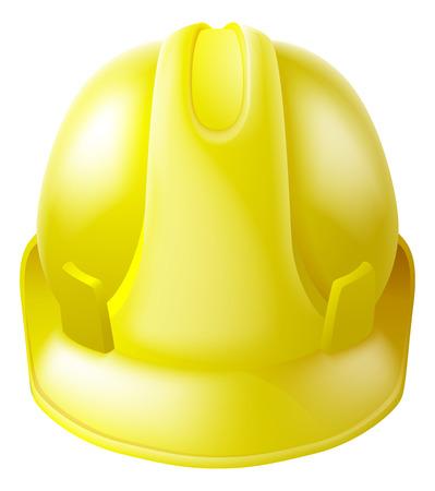 건설 노동자에 의해 착용 된 것과 같은 노란색 하드 모자 안전 헬멧의 그림 일러스트