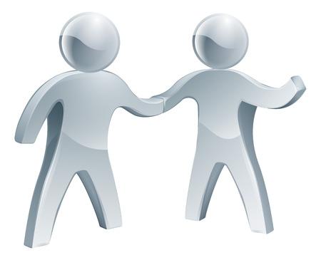 Zilveren handen schudden, een gelukkig verhogen van zijn andere arm. Aanwerving of andere business concept