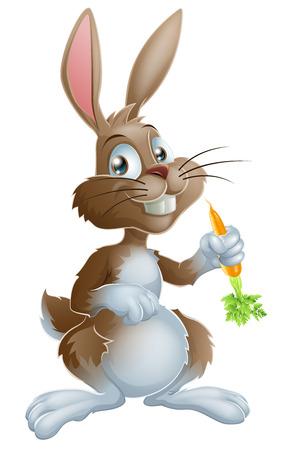 만화 토끼 토끼 또는 부활절 토끼 당근을 들고