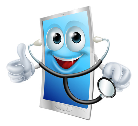 Illustration of a mobile phone character holding a stethoscope Illustration