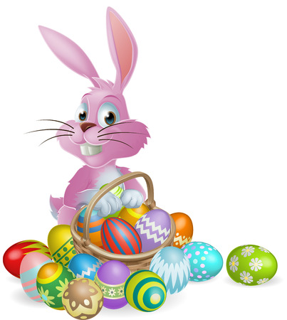Pink Easter bunny rabbit with Easter eggs basket full of chocolate decorated Easter eggs Vectores