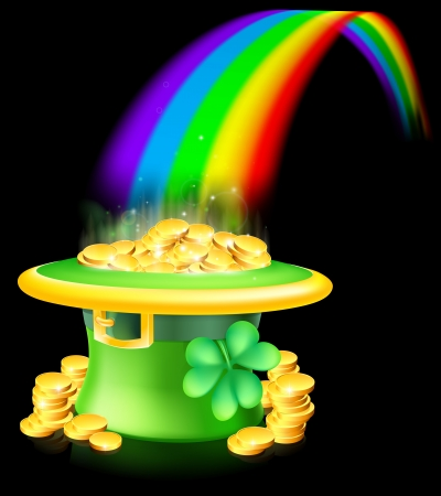 Cartoon green St Patrick's Day lucky Leprechaun hat full of gold coins with a shamrock or clover at the end of a rainbow