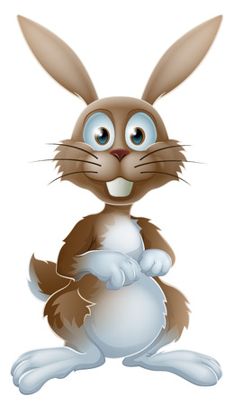 Een illustratie van een leuke cartoon konijn of paashaas