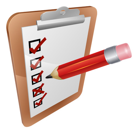 An illustration of a clipboard, survey or feedback form being completed with a pencil Vector Illustration
