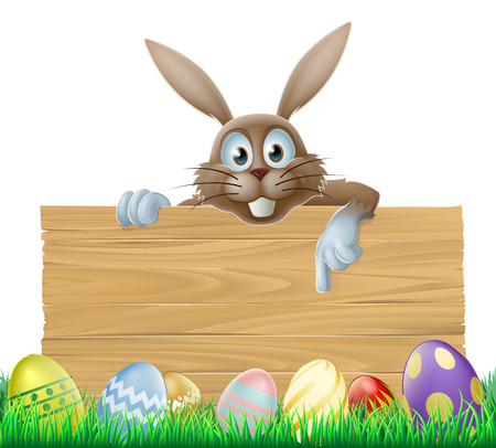 An Easter bunny wooden sign with painted Easter eggs Illustration