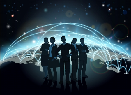 Business team in silhouette with globe in the background with network or flight paths