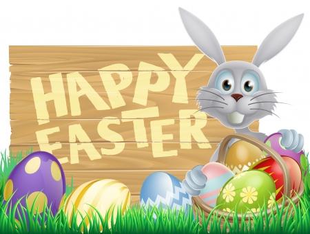 イースター木印の読書「ハッピー イースター イースターのウサギと飾られたイースターエッグ