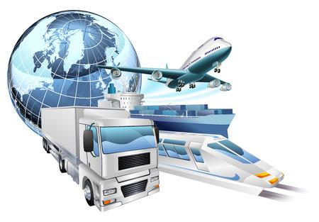 Dynamische logistieke stad zakelijk concept met levering transportvoertuigen en wereld Stock Illustratie