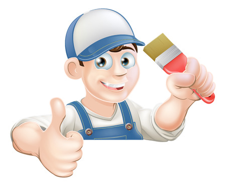 A painter or decorator holding a paintbrush and giving a thumbs up while peeking over a sign or banner