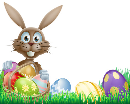 부활절 계란 바구니와 함께 만화 부활절 토끼 일러스트