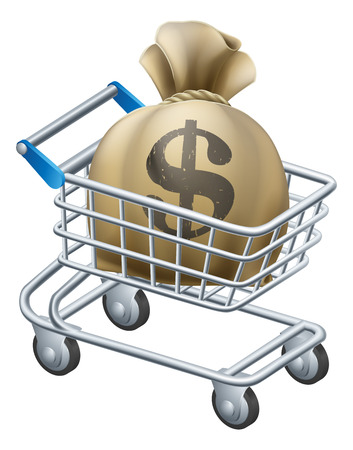 Money shopping cart trolley of a shopping cart or trolley with a large sack of money in it. Stock Vector - 25210394