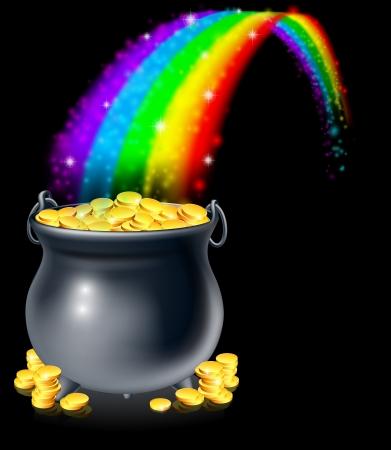 Een ketel of een pot vol gouden munten aan het einde van de regenboog. Pot met goud aan het einde van de regenboog-concept