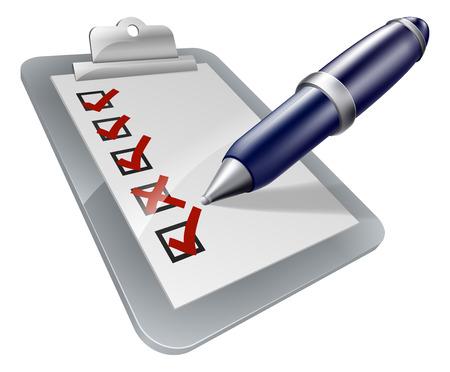 Survey klembord pictogram met pen tikken of kruising dozen op een enquête of een andere vorm