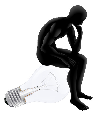Thinker looking for an idea, thinker style figure sitting on a light-bulb representing the idea