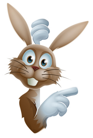 Cute cartoon Easter bunny rabbit peering around a sign and pointing