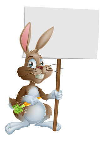 An illustration of a cute Easter bunny rabbit with carrot and sign