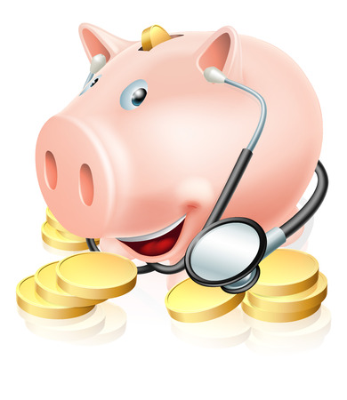 Chequeo financiero ilustración conceptual de una alcancía rodeado de monedas de un centavo de oro que lleva un estetoscopio. También podría referirse a un seguro médico o de los costos de atención de salud.