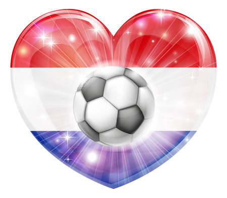 Netherlands soccer football ball flag love heart concept with the Dutch flag in a heart shape and a soccer ball flying out