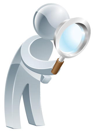 An illustration of a silver man looking through a magnifying glass