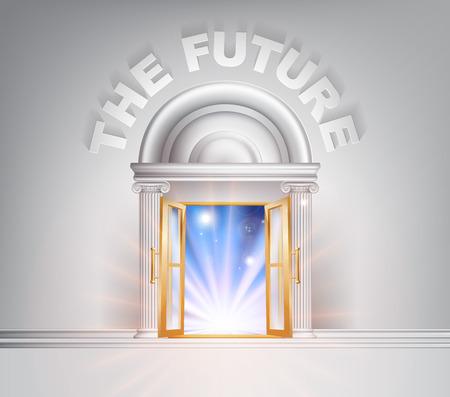 El concepto de puerta Futuro de una fantástica puerta de mármol blanco con columnas con la luz a través de él.
