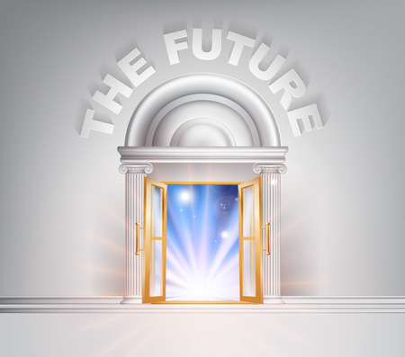 The Future door concept of a fantastic white marble door with columns with light streaming through it.