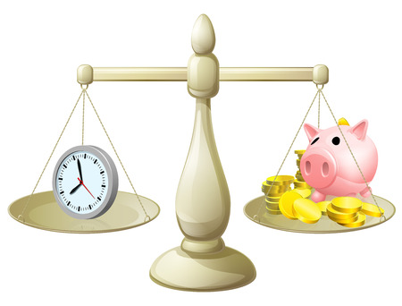 Time money balance scales, with a clock representing time on one side and a piggy bank on the other. Could represent work life balance or making best use of time, working smarter not harder.