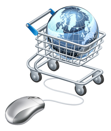 Globe computer mouse shopping cart, shopping cart containing globe and computer mouse. Concept for internet shopping or similar Illustration