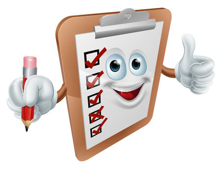 Happy clipboard survey man giving a thumbs up and holding a pencil