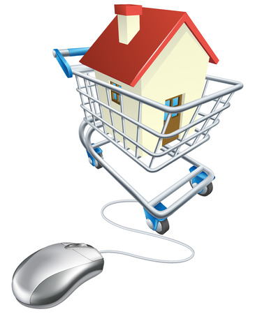 House mouse trolley concept, computer mouse connected to shopping trolley with house in it, searching real estate agent sites for house to buy online or similar