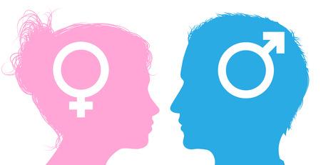 Cabezas hombre silueta y mujer con los iconos de símbolos sexuales masculinos y femeninos Ilustración de vector