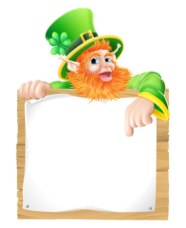 An illustration of a St Patricks day leprechaun cartoon character pointing down at a sign