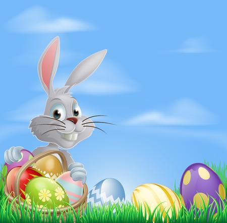 Witte Pasen konijn met een mandje van chocolade paaseieren