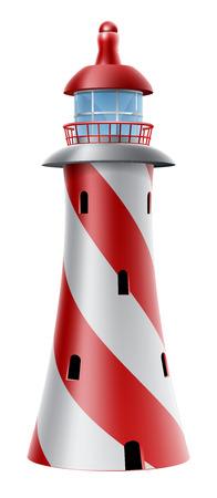 斜めの縞模様の赤と白の灯台のイラスト