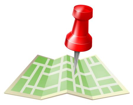 Mapa y pin icono de una tachuela o mapa pin a punto de entrar en un mapa plegado de papel Ilustración de vector