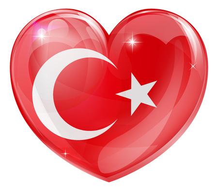 Turquie drapeau concept de coeur d'amour avec le drapeau turc dans une forme de coeur