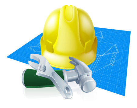 Hard hat tools and blueprint construction industry illustration. A yellow hard hat helmet, spanner or wrench, claw hammer and blueprint.