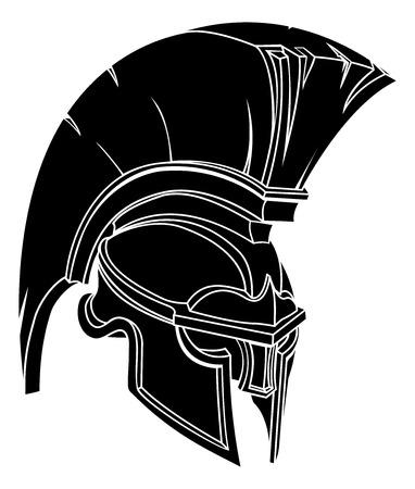 スパルタまたはトロイの木馬の戦士や剣闘士のヘルメットのイラスト