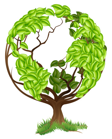 Green tree globe earth world conceptual illustration of a tree growing in the shape of a globe