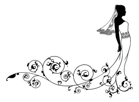 抽象的なパターンの繁栄の花嫁ウェディング ドレス ファッション シルエット  イラスト・ベクター素材