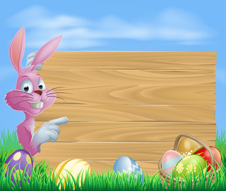 Pink Easter eggs bunny rabbit with chocolate painted Easter eggs and a blank wooden sign Ilustrace