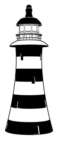 Een vuurtoren illustratie in gestileerd zwart-wit met strepen