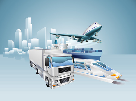 Logistics city business concept with delivery transport vehicles and city in the background