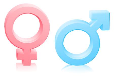 Man en vrouw, mannelijk en vrouwelijk geslacht geslachten tekens of symbolen in roze en blauw