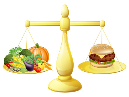 Healthy eating diet decision concept of healthy vegetables on one side of scales and a burger junk food on the other. Could also be for the importance of a balanced diet.