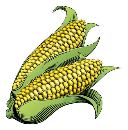 ビンテージ スタイルの甘いトウモロコシ トウモロコシ ビンテージ木版画図
