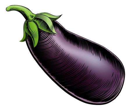 A brinjal eggplant aubergine vintage woodcut illustration in a vintage style