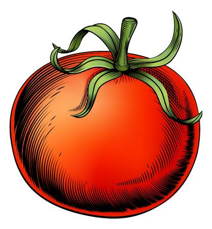 빈티지 스타일의 토마토 빈티지 목판화 그림